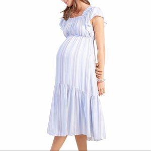 Ingrid & Isabel Maternity Flutter Midi Dress L